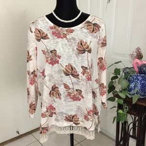Lauren Conrad Cream Floral Sweater w/Lace (X1)